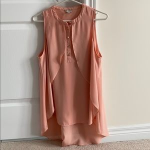 Guess Large Chiffon Pink Coral Shirt Gold Buttons